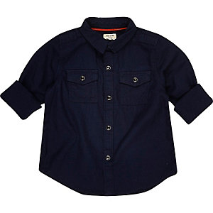 Mini boys navy military shirt
