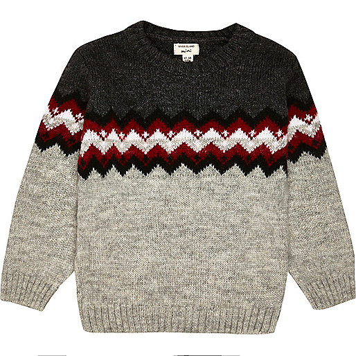 Mini boys grey zig zag jumper