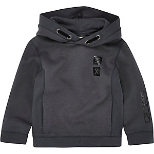 Mini boys grey ribbed panel hoodie