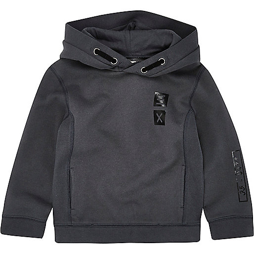 Mini boys grey ribbed panel hoodie