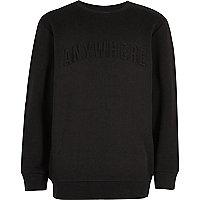 Boys black embossed slogan print sweatshirt