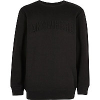 Boys black embossed slogan print sweatshirt