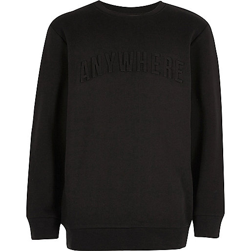 Schwarzes Sweatshirt mit Slogn