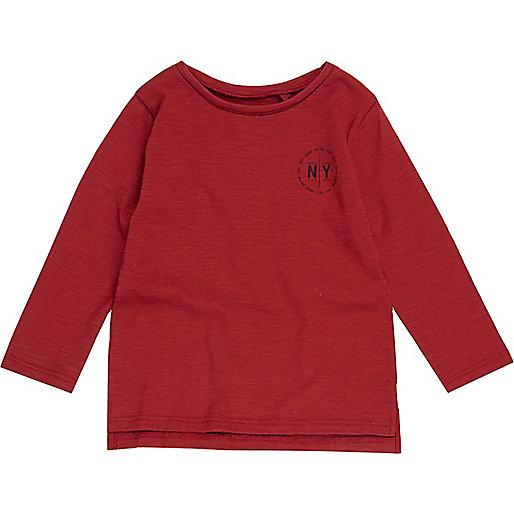 Mini boys red NY print long sleeve T-shirt