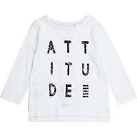Mini boys white 'Attitude' print sweatshirt