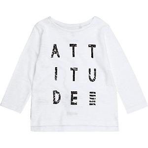 """Weißes Sweatshirt mit """"Attitude""""-Print"""