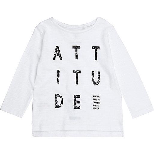 Mini boys white 'Attitude' print sweatshirt