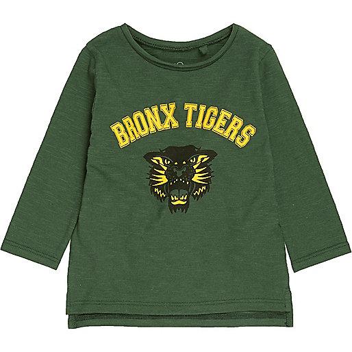 Mini boys green tiger logo sweatshirt