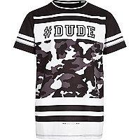 Schwarzes T-Shirt mit #Dude-Motiv