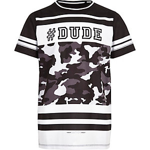 Boys black '#dude' mesh t-shirt