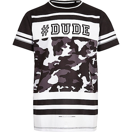Boys black '#dude' mesh t-shirt