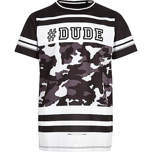 T-shirt imprimé #dude en tulle noir pour garçon