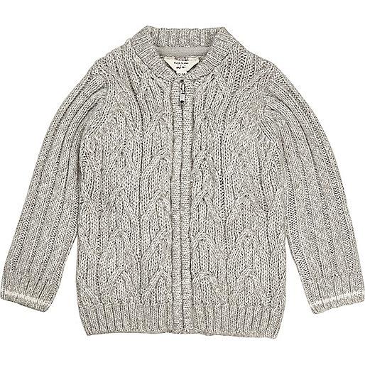 Mini boys grey cable knit bomber cardigan