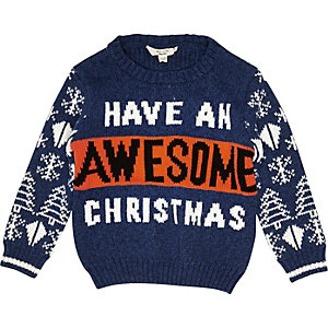 Mini boys blue 'Awesome' Christmas jumper