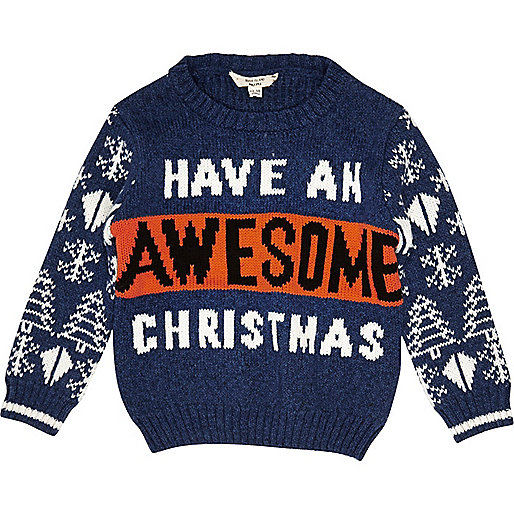 Mini boys blue 'Awesome' Christmas sweater