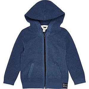 Blauer, strukturierter Hoodie