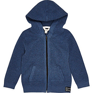 Sweat à capuche bleu texturé pour mini garçon