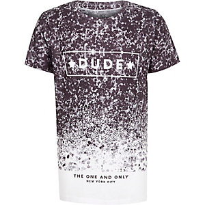 Boys black and white splattered print t-shirt