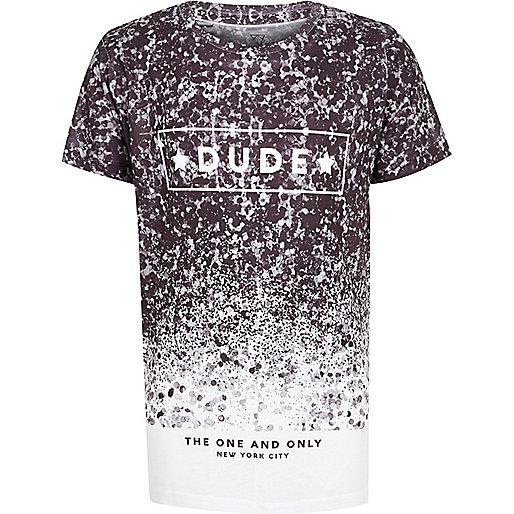 T-shirt imprimé éclaboussures noir et blanc pour garçon