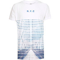 Boys white faded NYC print t-shirt