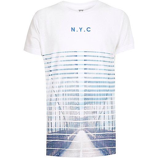 Boys white faded NYC print t-shirt