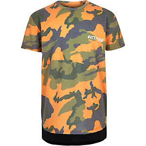 Boys orange camo print t-shirt