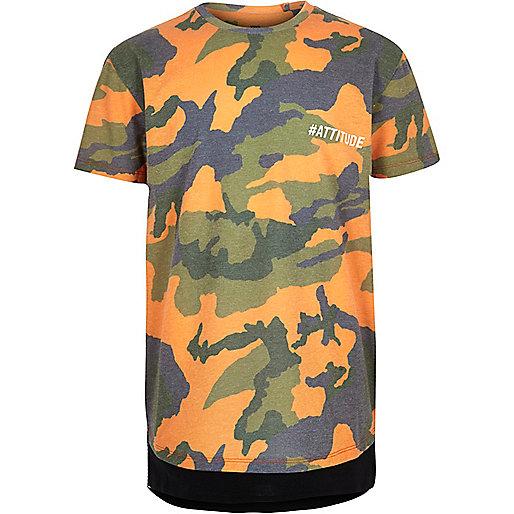 Boys orange camo T-shirt