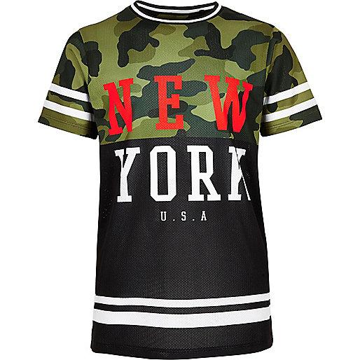 T-shirt en maille ajourée camouflage kaki pour garçon