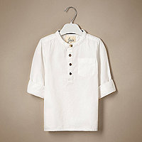 Mini boys white textured grandad shirt