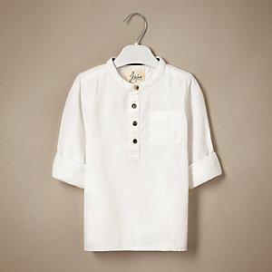 Chemise texturée blanche style grand-père pour mini garçon