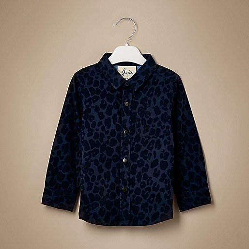 Chemise unisexe bleu marine à imprimé léopard