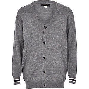 Boys grey smart oversized cardigan