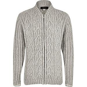 Cardigan style blouson en maille torsadée gris pour garçon