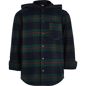 Boys dark green check hooded flannel shirt