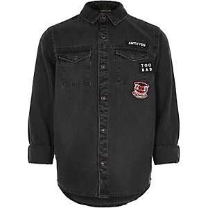 Boys black washed badge denim shirt