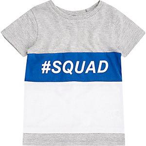 T-shirt colour block gris imprimé Squad mini garçon