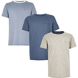 Boys blue and grey t-shirt pack