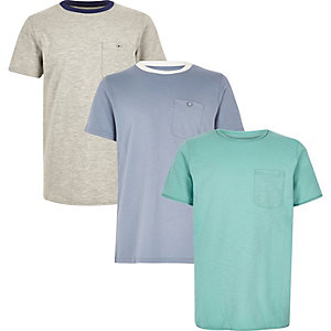Boys turquoise, grey and blue t-shirt pack