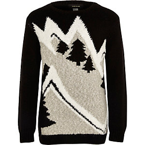 Boys black novelty ski slope Christmas jumper
