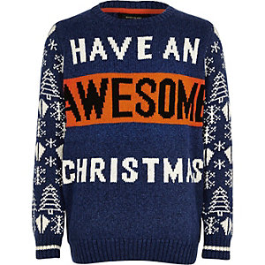 Boys blue 'Awesome' Christmas jumper