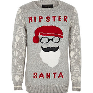 Boys grey hipster Santa Christmas Jumper