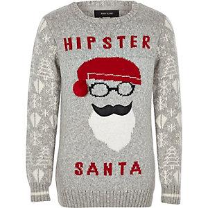 Pull motif Père Noël hipster gris pour garçon