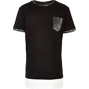T-shirt noir imprimé éclaboussures de peinture pour garçon