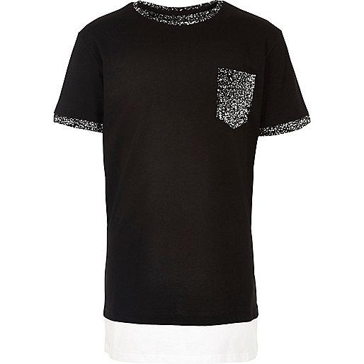 Boys black paint splatter print T-shirt
