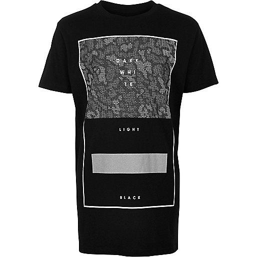 Schwarzes Oversized-T-Shirt mit Leopardenmuster