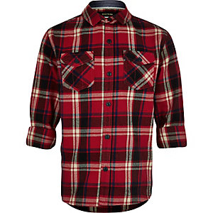 Boys red check flannel shirt