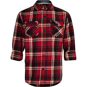 Chemise en flanelle à carreaux rouge pour garçon