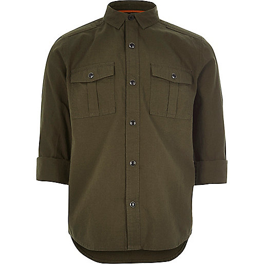 Boys khaki green military Oxford shirt