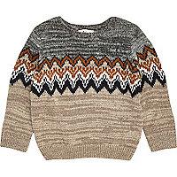 Mini boys grey zig zag crew neck sweater