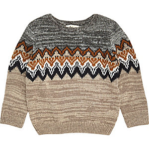 Mini boys grey zig zag crew neck sweater